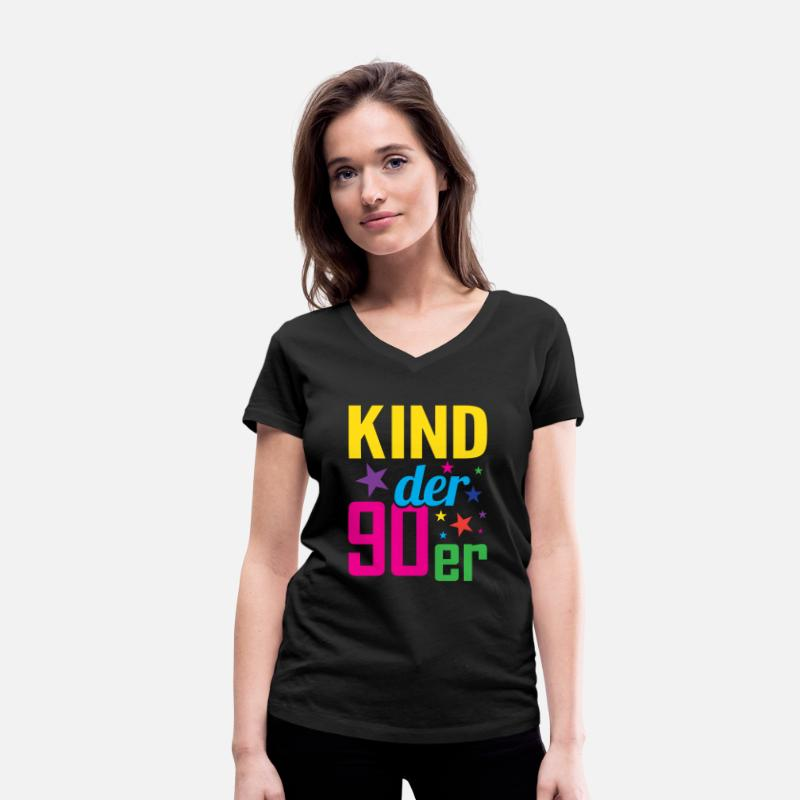Love T-Shirts - Child 90s 90s - Women's Organic V-Neck T-Shirt black