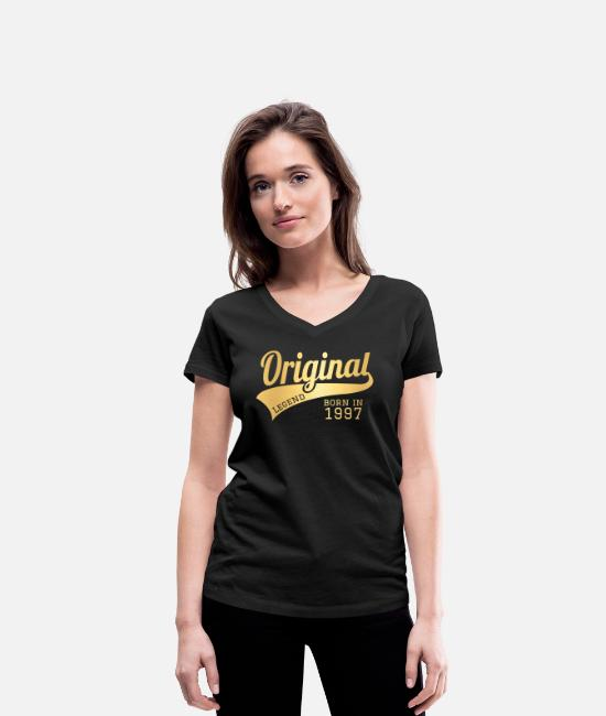 1997 T-Shirts - 1997 97 Present Bday Birthday Present Gift - Women's Organic V-Neck T-Shirt black