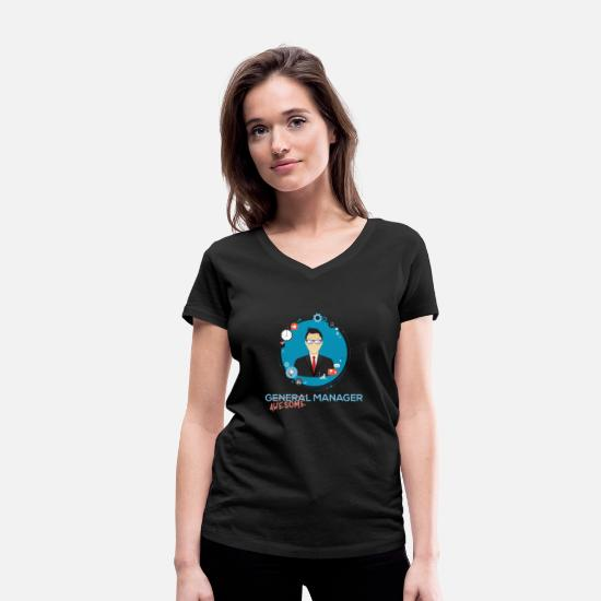 General Manager Art T-Shirts - General Manager - (General) Awesome Manager - Women's Organic V-Neck T-Shirt black