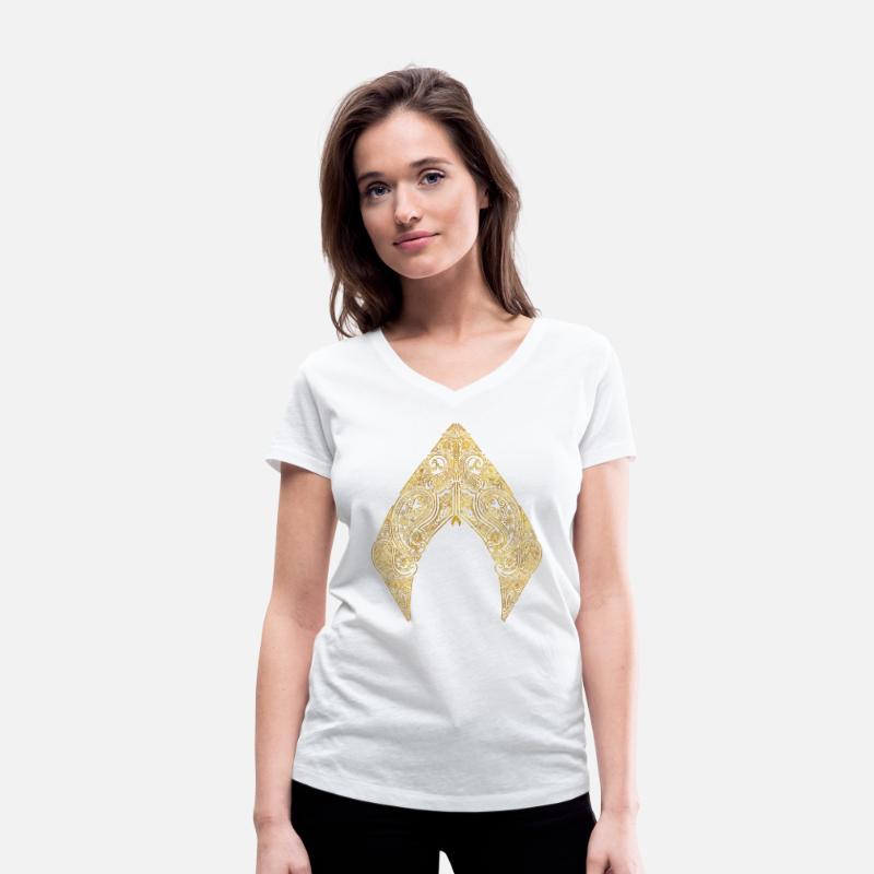 Aquaman Film Logo Gold Leaf Økologisk T skjorte med V hals