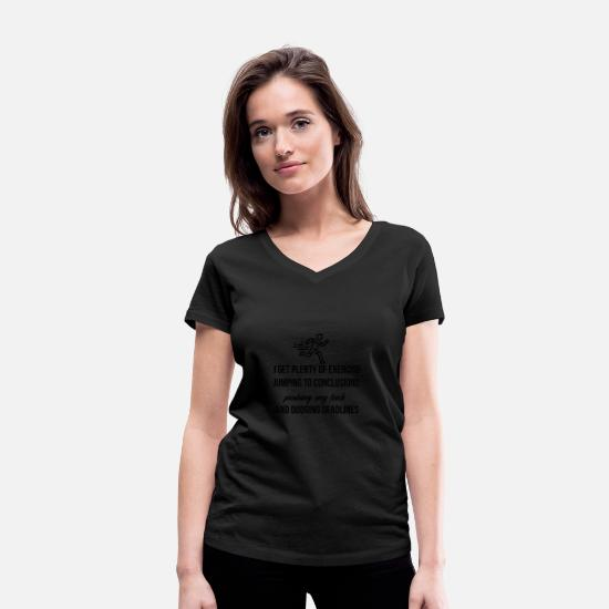 Jumping T-Shirts - I get plenty of exercise - Women's Organic V-Neck T-Shirt black