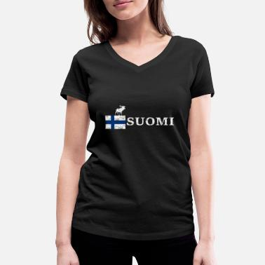 Wikstroem Finland moose flag Suomi used look - Women's Organic V-Neck T-Shirt