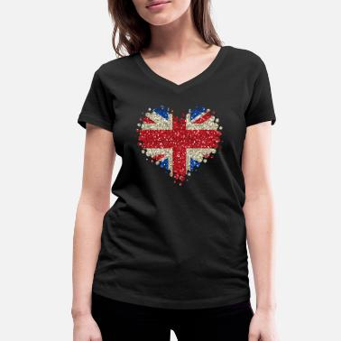 Jack I Love Great Britain - England Union Jack - Women's Organic V-Neck T-Shirt