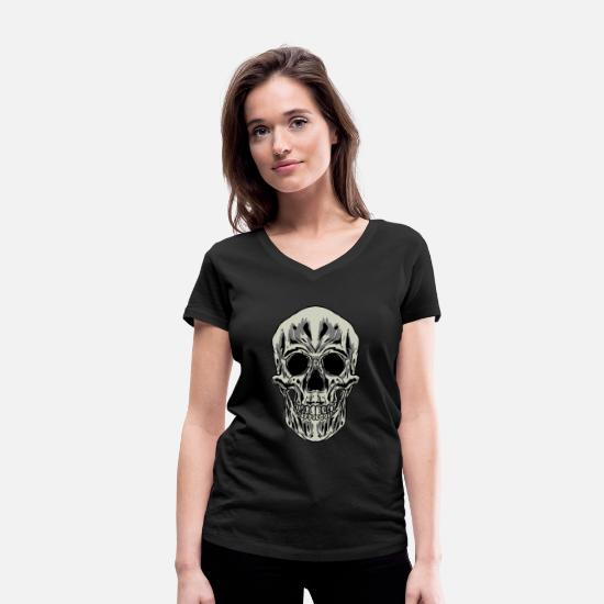 Nose T-Shirts - Skull Human Skeleton Bones Teeth Bony Mask Gift - Women's Organic V-Neck T-Shirt black