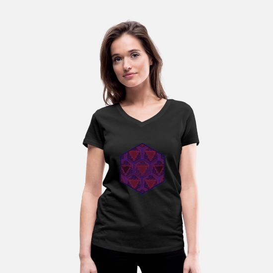 Trippy T-Shirts - Goa Party Shirt Heilige Geometrie Yoga Meditation - Frauen Bio T-Shirt mit V-Ausschnitt Schwarz