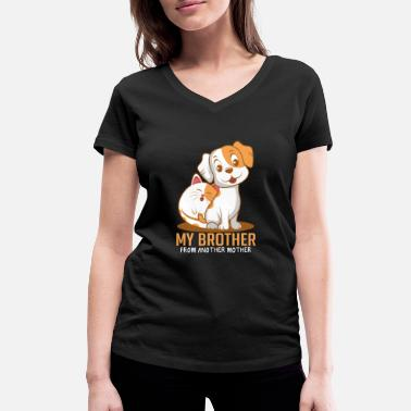 Paw Cat dog brother Funny animal lover gift - Women's Organic V-Neck T-Shirt