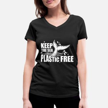 Pollution Anti plastic garbage pollution earth planet - Women's Organic V-Neck T-Shirt