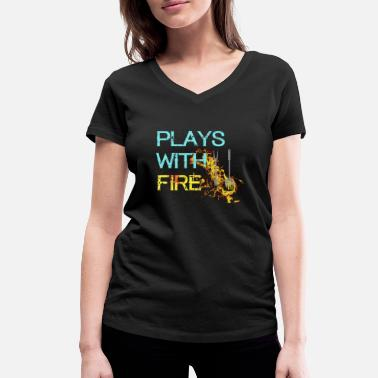 Play Play with fire - Women's Organic V-Neck T-Shirt