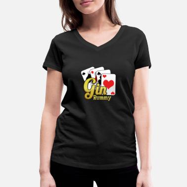 Gin Rummy Gin Rummy Card Deck - Women's Organic V-Neck T-Shirt