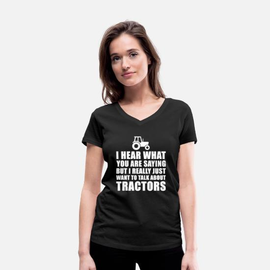 Tractor T-Shirts - Funny Tractor Gift Idea For Father Of Grandfather - Women's Organic V-Neck T-Shirt black
