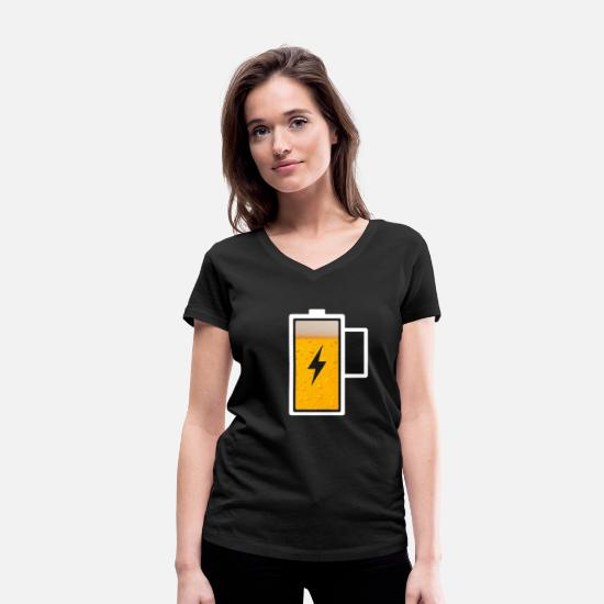 Gift Idea T-Shirts - Beer battery battery charging drink funny logo - Women's Organic V-Neck T-Shirt black