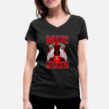 Match Music Is My Religion design Electric Guitar Mens - Women's Organic V-Neck T-Shirt