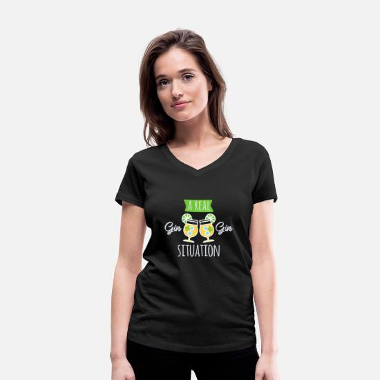 Gin T-Shirts - A real GIN GIN situation - Women's Organic V-Neck T-Shirt black