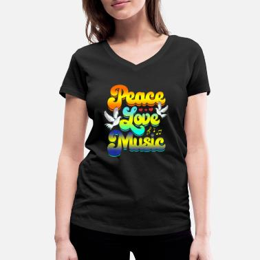 Festival Peace Love Music Rave Festival Musical Hippie - Women's Organic V-Neck T-Shirt