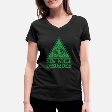 Twisted New world disorder creative double iris eye - Women's Organic V-Neck T-Shirt