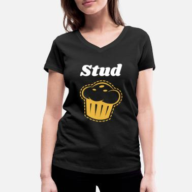 Stud Stud Muffin Gift Gym Workout Back To School - Women's Organic V-Neck T-Shirt