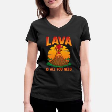 Volcano Cute Lava Is All You Need Volcano Valentines Day - Women's Organic V-Neck T-Shirt