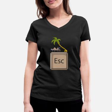 Escape Vacation Woman - Women's Organic V-Neck T-Shirt