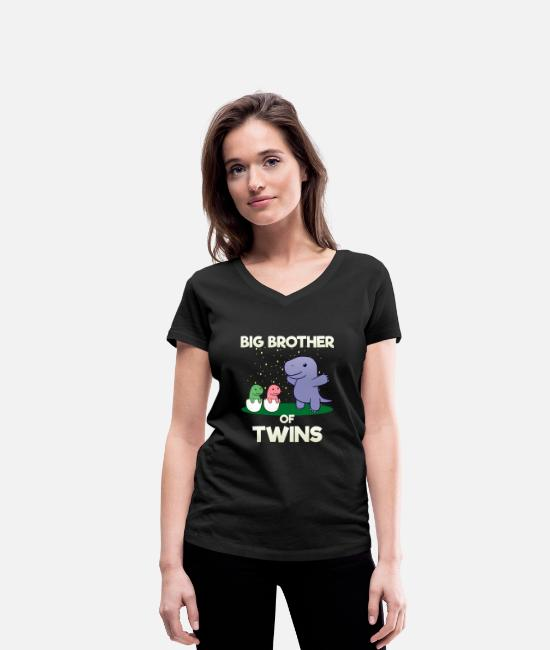 Brotherasurus T-Shirts - Siblings brother Brothersaurus I gift - Women's Organic V-Neck T-Shirt black