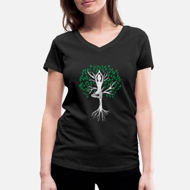 Spiritual Yoga shirt gift tree of life spirituality - Women's Organic V-Neck T-Shirt