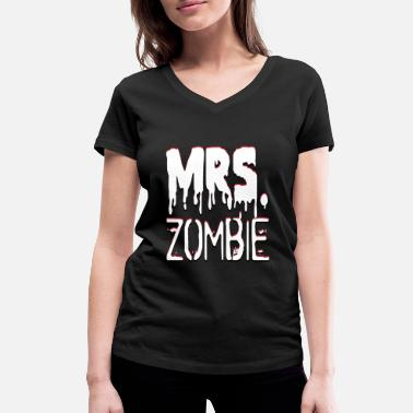 Mr And Mrs Mrs. Zombie und Mr. Zombie Partnerlook - Frauen Bio T-Shirt mit V-Ausschnitt