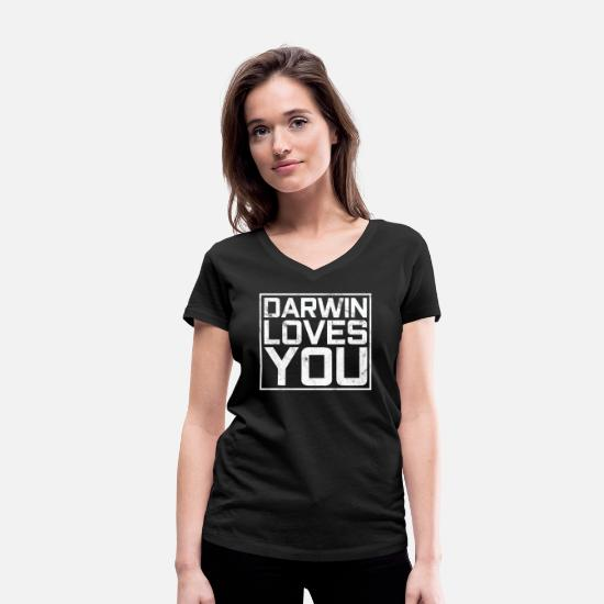 Charles T-Shirts - Anti-religion Darwin loves you - Women's Organic V-Neck T-Shirt black