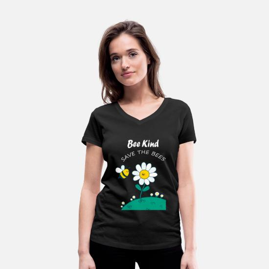 Save The Bees T-shirts - Save The Bees / Save The Bees - Vrouwen V-hals bio T-shirt zwart
