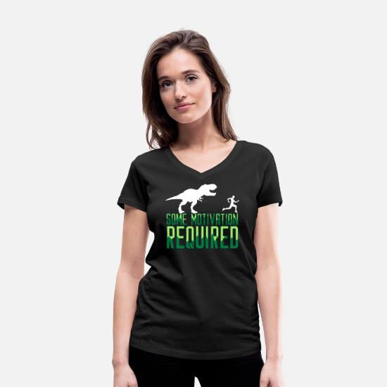 Querer Camisetas - Some Motivation Required Joggen Jogger Fitness Gym - Camiseta con cuello de pico mujer negro
