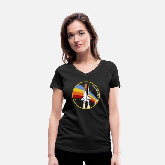 Moon Landing T-Shirts - Space Shuttle launch missile - Women's Organic V-Neck T-Shirt black