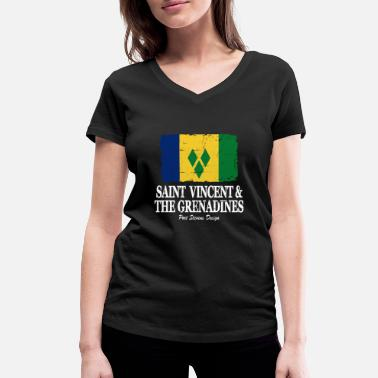 Chic Flag of Saint Vincent and the Grenadines - Women's Organic V-Neck T-Shirt