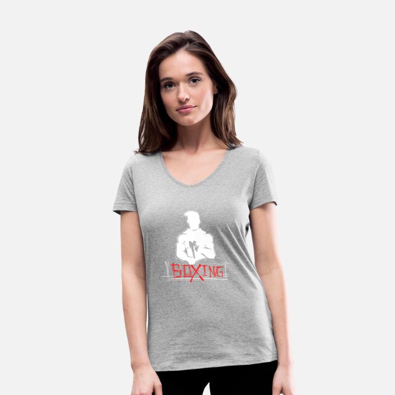 Kampsport boksing bokser Økologisk T skjorte med V hals for