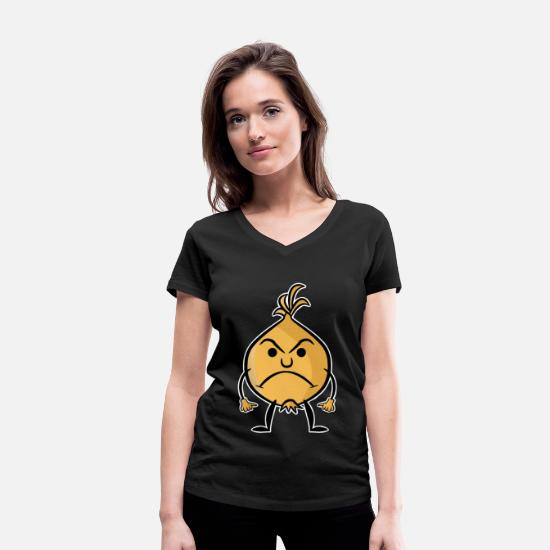 Birthday T-Shirts - Onion Sour Angry Colored Vector Emotion - Women's Organic V-Neck T-Shirt black