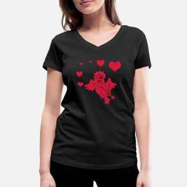 Cupido Cupid with Hearts Bow and Arrow - Frauen Bio T-Shirt mit V-Ausschnitt