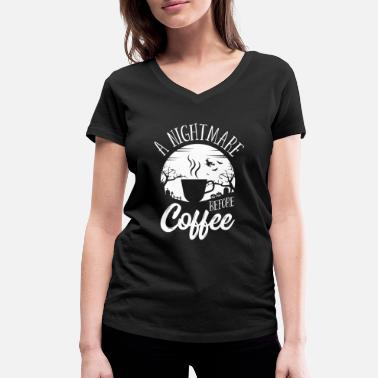 Ghost Halloween A Nightmare Before Coffee Costume - Women's Organic V-Neck T-Shirt