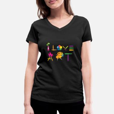 Painter I Love Art Abstract Artistic Gift Idea - Women's Organic V-Neck T-Shirt