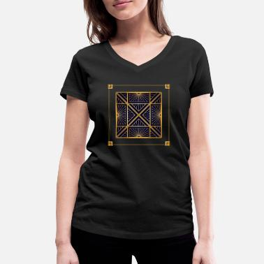 Quadrat Abstract vintage pattern with square and lines - Women's Organic V-Neck T-Shirt