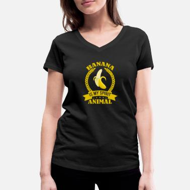 Banaan Banana Is My Spirit Animal Funny Vegan Food Gift - Vrouwen V-hals bio T-shirt