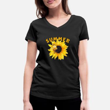 Save The Bees Bee Summer Summer Sunflower Birthday Baby - Ekologisk T-shirt med V-ringning dam