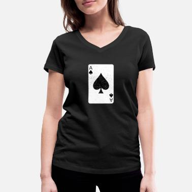 Relaxe ACE OF SPADES POKER PLAYING CARD GAME - Women's Organic V-Neck T-Shirt