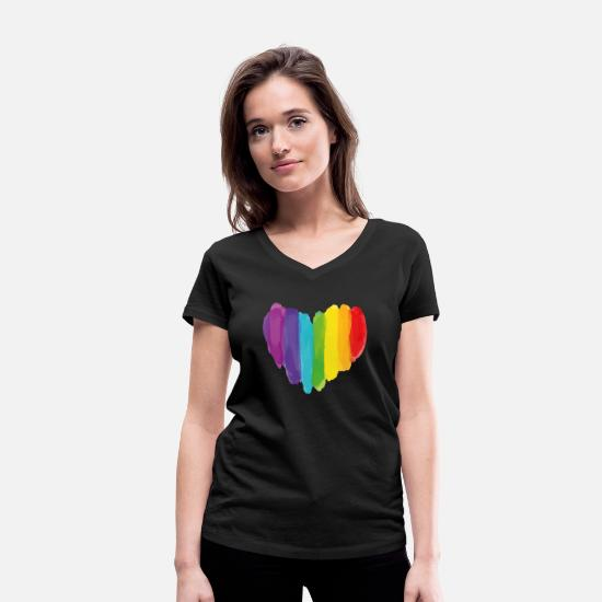 Gay Pride T-Shirts - Rainbow Heart - Women's Organic V-Neck T-Shirt black