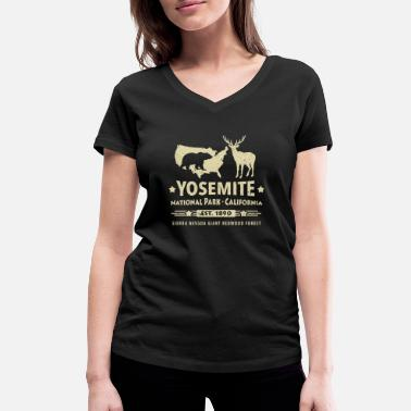 California Yosemite National Park California Bear Redwood - Women's Organic V-Neck T-Shirt