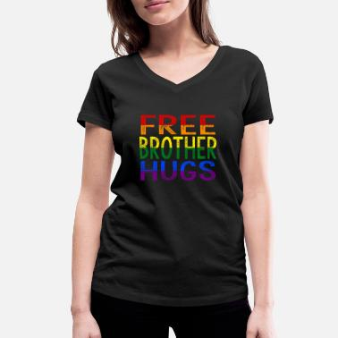 Step Brothers Free Brother Hugs - Vrouwen V-hals bio T-shirt