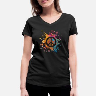 Hippie Peace world peace gift - T-shirt bio col V Femme