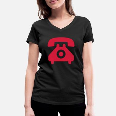 Handset telephone speaking handset symbol - Women's Organic V-Neck T-Shirt