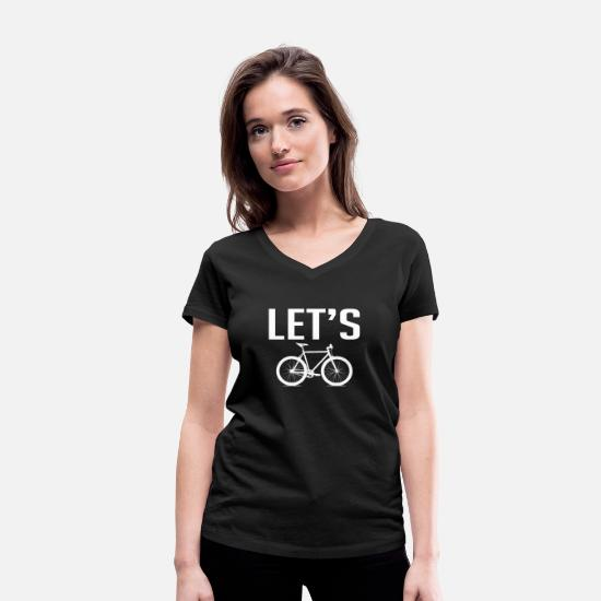 Bike Messenger T-Shirts - Bike Bike - Women's Organic V-Neck T-Shirt black