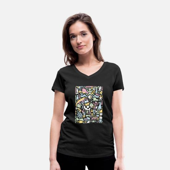 Psychedelic T-Shirts - Creature Collective Alt - Women's Organic V-Neck T-Shirt black