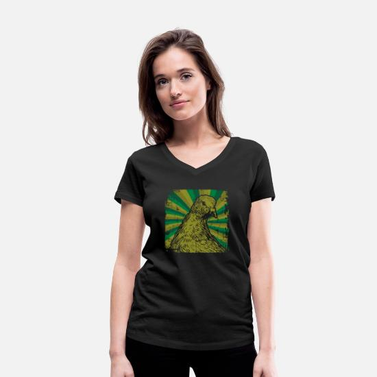 Pigeon T-Shirts - Carrier pigeon bird - Women's Organic V-Neck T-Shirt black