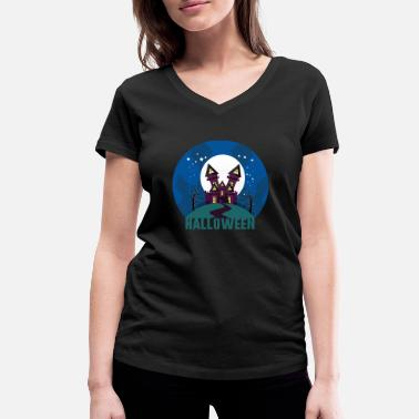 Haunt Halloween haunted house haunted house - Women's Organic V-Neck T-Shirt