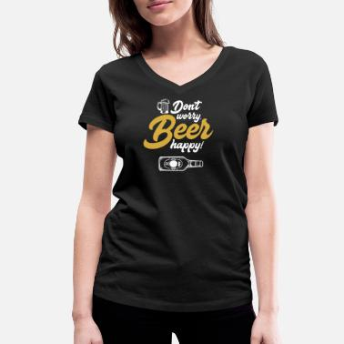 Brandy Beer happy - beer, alcohol, drinking, brewer - Women's Organic V-Neck T-Shirt
