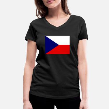Cz Flag of Czech Republic (cz) - Women's Organic V-Neck T-Shirt
